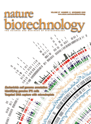 Article by Cho et al about E coli genome uses a Circos image, which makes it to the cover of Nature Biotechnology. (300 x 410)