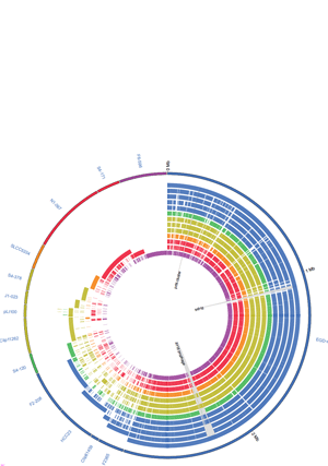 Circular genome visualization and data visualization with Circos: Comparative genomics of the bacterial genus Listeria: Genome evolution is characterized by limited gene acquisition and limited gene loss (300 x 427)