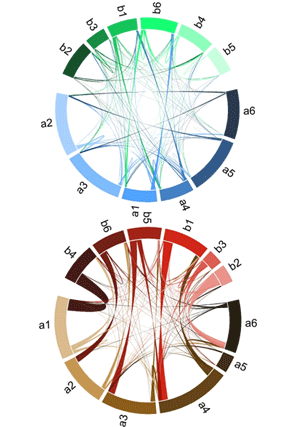 Circular genome visualization and data visualization with Circos: Distinguishing microbial genome fragments based on their composition: evolutionary and comparative genomic perspectives (300 x 427)
